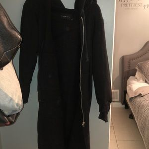 Long black cardigan sweat shirt